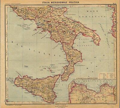 Cartina Italia Politica In Vendita.Carta Geografica Antica Italia Meridionale Politica Paravia 1941 Old Antique Map Ebay
