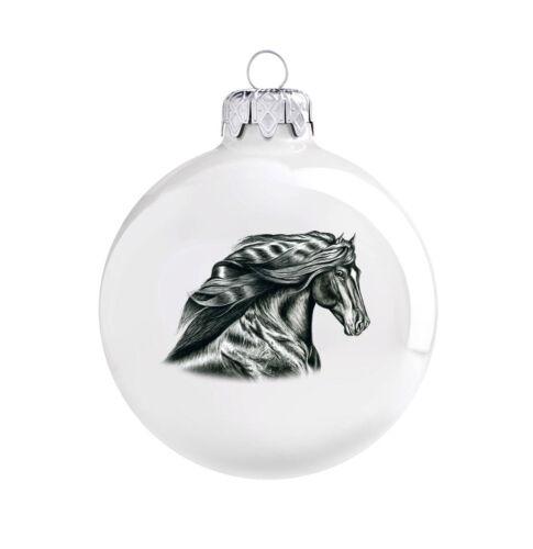 Weihnachtskugel Pferd Rappe Pferdemotiv Christbaumkugel Weihnachtsbaumkugel