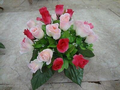 künstliche Blumen pflanzen  blumen dekoartik Grabgesteck  24 rosen purpur