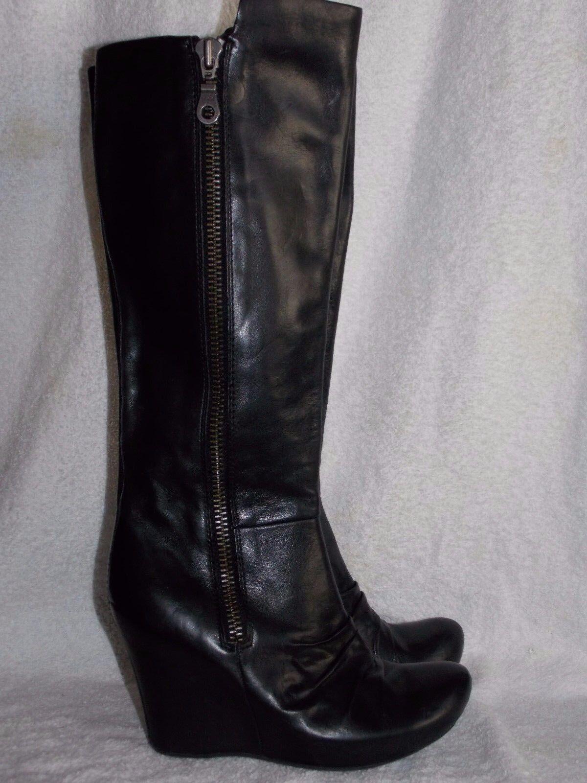 Cremallera YKK YKK YKK cuña de cuero liso la rodilla botas altas 7.5 para mujeres Usado  con 60% de descuento