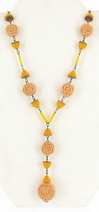 ANTIQUE-CZECH-YELLOW-BEIGE-PRESSED-GLASS-ROSE-BEADS-LINK-LAVALIERE-NECKLACE-17-034