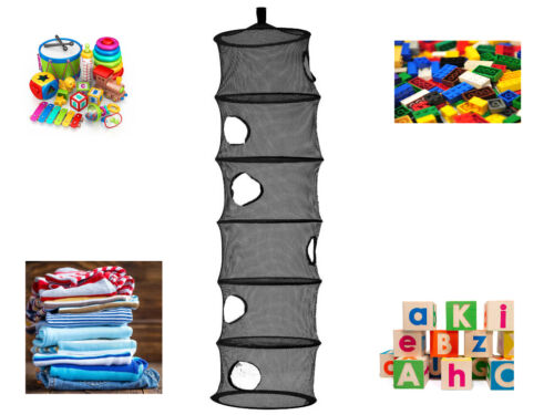 BLACK 6 COMPARTMENT HANGING NET STORAGE NURSERY ORGANISER TIDY KIDS TOYS CLOTHES