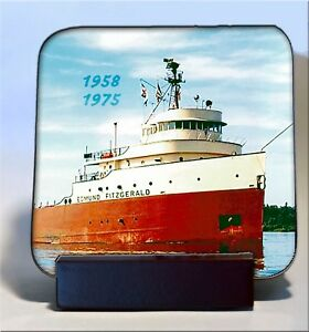 Edmund-Fitzgerald-Freighter-coaster-set-of-4-High-Gloss-hardboard-with-stand