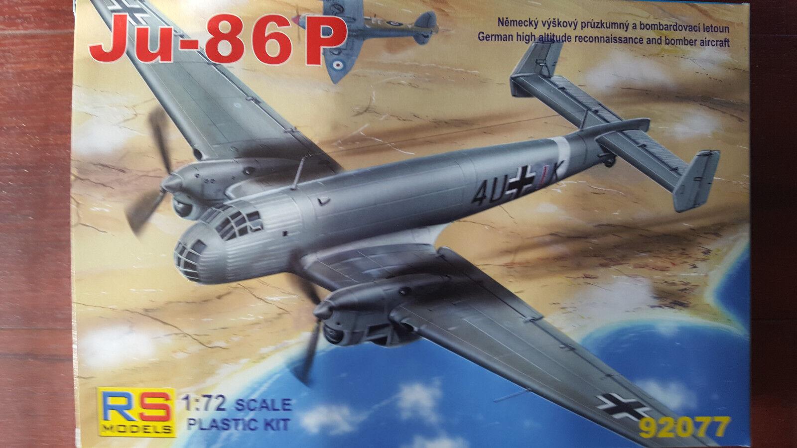 Ju-86P GERMAN RECO. MEDIUM BOMBER WWII RS MODELS 1 72 PLASTIC KIT