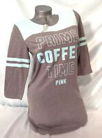 Victorias Secret Pink Sleep Shirt Medium Prime Coffee Time Nightshirt Gray