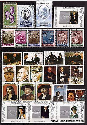 8t5 Ajman 4 Blöcke Und 24 Briefmarken Entwertet:pesrsonnages Illustre Wichtig Exzellente QualitäT