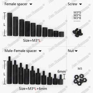 20-50-100X-Black-Plastic-Nylon-M3-Hex-Column-Standoff-Spacer-Phillips-Screws-Nut