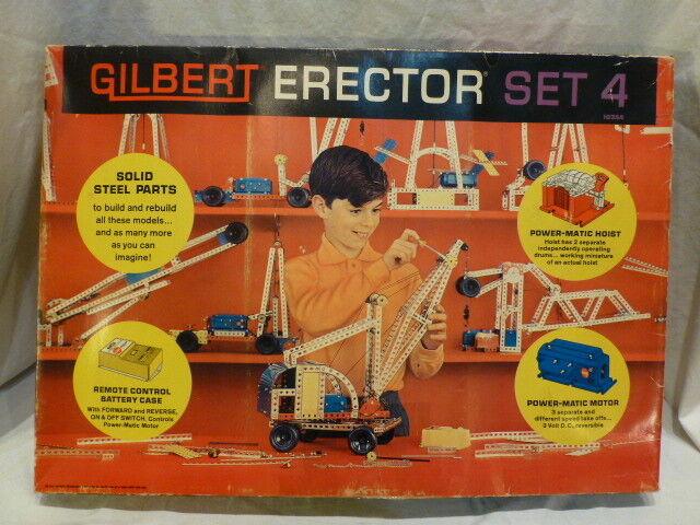 Vintage A.C. GILBERT Set 4 Erector Set 1964 Complete over 450 Metal Pieces