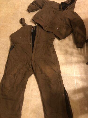 Dickies Bib Overalls & Jacket Cold Weather Brown 3