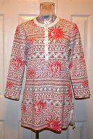 J. Mclaughlin Biscayne Catalina Cloth Tunic Top, Coral Sun Print,