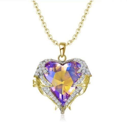 Fashion Lady Angel Aile Collier Coeur Strass Cristal Chaîne Pendentif Bijoux