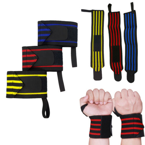 1 Pairs Padded Weight Lifting Training Glove Gym Straps Hand Wrap Wrist Support