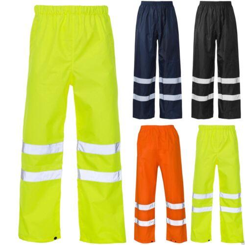 Homme Sur Pantalon Hi Vis Sécurité Imperméable Pluie Travail Haute Viz visibilité Pantalon