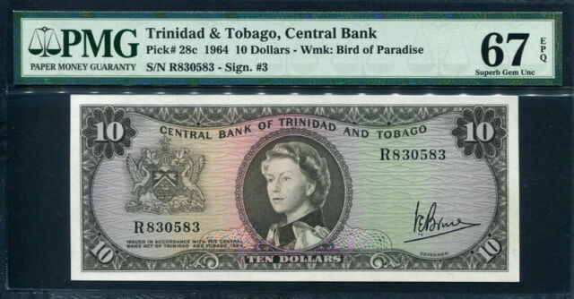 Trinidad & Tobago 1964, 10 Dollars, P28c, PMG 67 EPQ Superb GEM UNC top highest