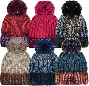 49944c1c8cf Rockjock Unisex Marl Chunky Knitted Ski Bobble Winter Hat with Large ...