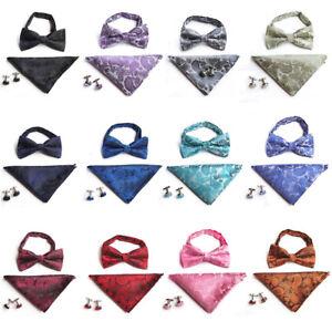 Men-Paisley-Pre-tied-Tuxedo-Bow-Tie-Cufflinks-Handkerchiefs-Pocket-Square-Set