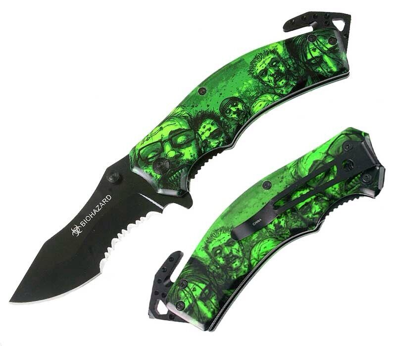 8″ Green Metal Handle Zombie Killer Spring Assisted Folding Knife  ZK010270GN