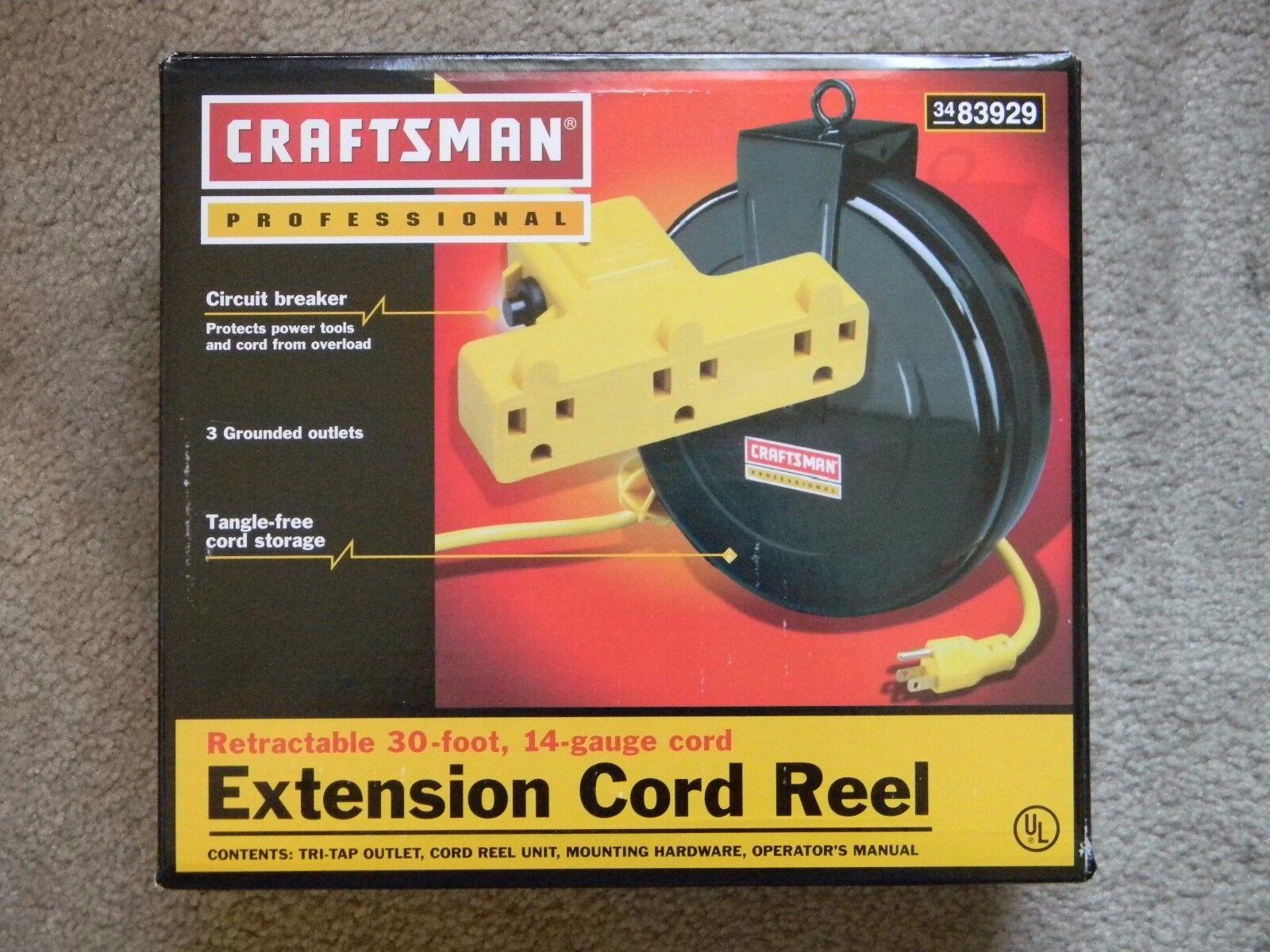 Craftsman 83929 30 Ft Retractable Heavy Duty Extension Cord Reel Ebay W Circuit Breaker Stock Photo