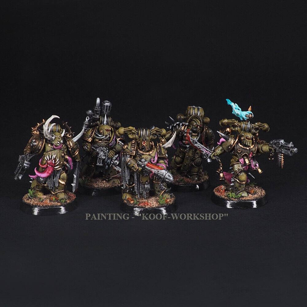 Warhammer 40k 5 Målat Death Guard Squad Plague Marines