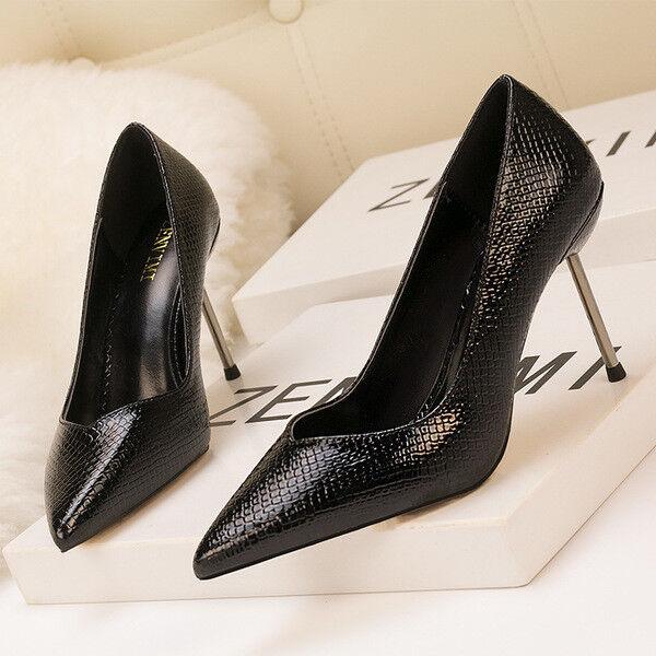 zapatos decolte eleganti stiletto 10 cm negro negro cm comodi simil pelle 1572 bffce1
