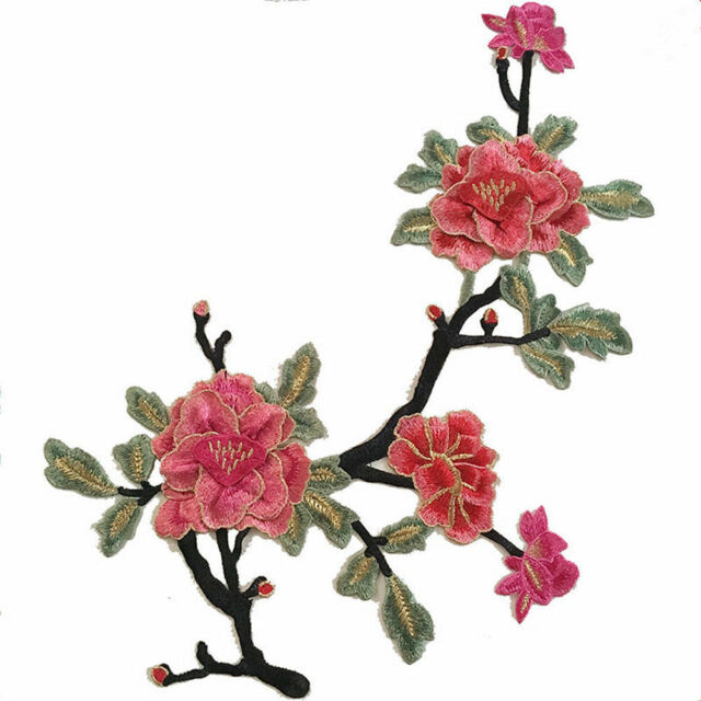Rose Flower Applique Badge Embroidered Floral Collar Sew Patch Dress Craft ce