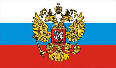 NEW 5 x 3 FOOT (150x90cm) RUSSIA IMPERIAL WITH EAGLE CREST RUSSIAN FLAG STRIPES