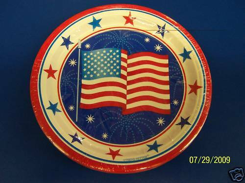 "White /& Blue Patriotic USA Party 7/"" Dessert Plates Red"
