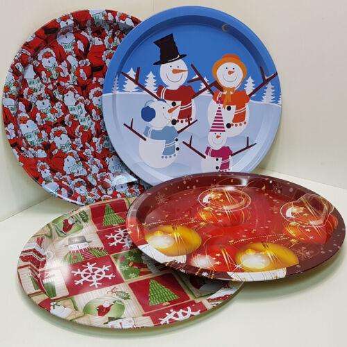 4 Design 4x Weihnachts Advent Teller Metall 32cm Schickes Weihnachtsteller SET