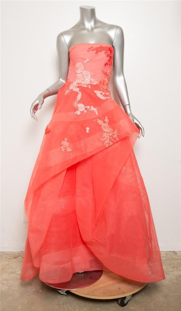 Monique Lhuillier Korallenrot Trägerlos Blaumenmuster Bestickt Formelles Kleid 4