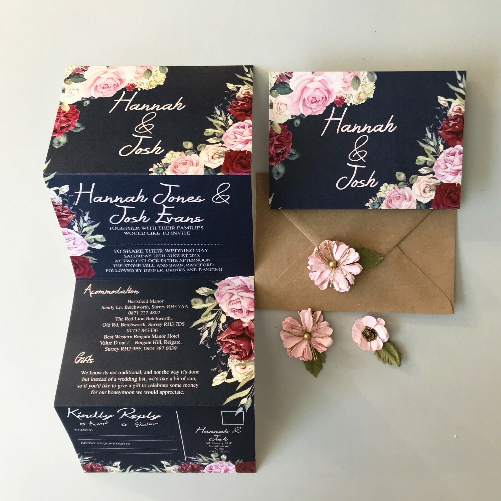 Vintage Floral Navy Day or Evening Personalised Wedding Invitations with RSVP