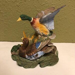 Vintage-ROYAL-CROWN-Ceramic-Ducks-amp-Frog-Figurine-Statue-J-Byron-Signed