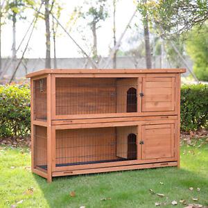 Details About 2 Tier Wooden Rabbit Hutch Bunny Cage Pet House Nesting Habitat Yard Guinea Pig