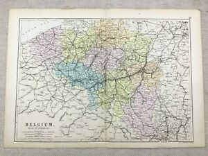 1891 Antik Map Of Belgien Herzogtum Luxemburg Alte Europa 19th Century Original