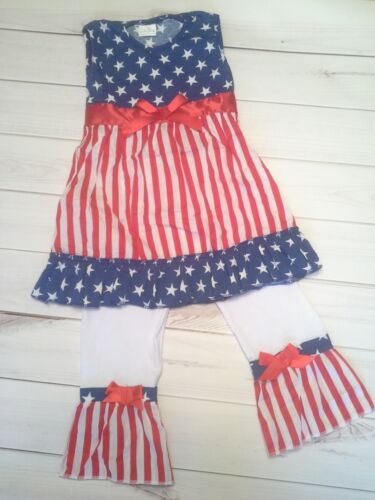 girls toddler children dress pants 4th of july outfit star stripe patriot sz 4t