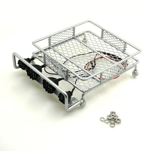 Alliage toit Argent Porte-bagages avec 4 lumières DEL pour contrôle radio 1:10 crawler SCX10 D90