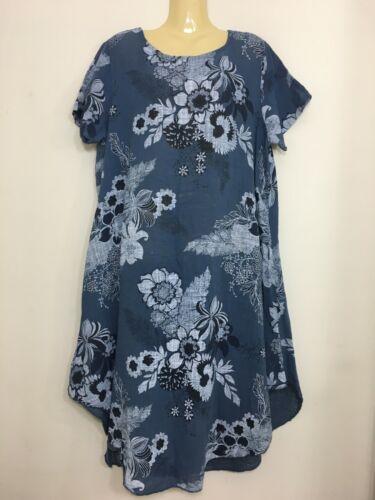 New Ladies Floral Print Italian Dress Lagenlook Cocoon Scoop Neck Linen Tunic UK