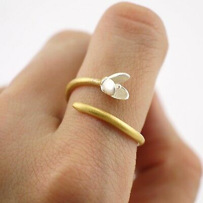 925 Sterling Silver Golden Branch Flower Michelia Alba Adjustable Ring A3197