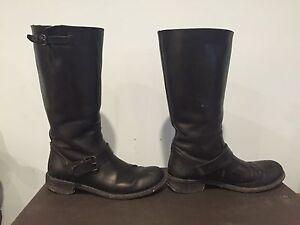 990-Bottega-Veneta-Biker-Boot-Black-Leather-Flat-Strap-Buckle-Designer-Moto