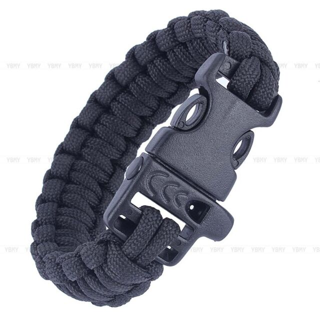 2 x 9/'/' Survival Paracord Bracelet Flint Fire Starter Buckle Scraper Whistle Kit