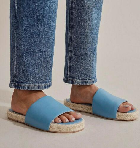 NIB Designer COUNTRY ROAD Sadie Leather Slides Shoes Italian 38 39 7 8 AZURE
