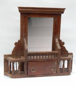 Miroir-Barbier-Ancien-Tablette-Mural-avec-Tiroir-Teck-Patine-Indien-46x10x44cm