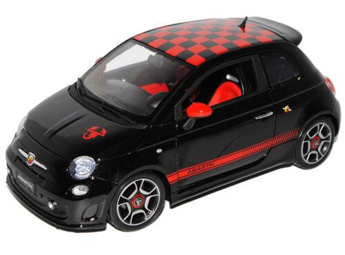 Fiat 500 Abarth Schwarz Rot karriertes Dach Ab 2007 1//18 Bburago Modell Auto m..