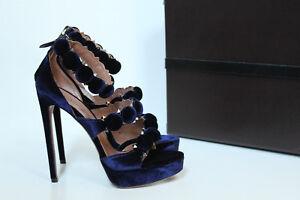 8 Velour Blue Details 5 Azzedine About Platform Shoes 38 Alaia Sandal New Bombe Studded 135 OXZuiPk