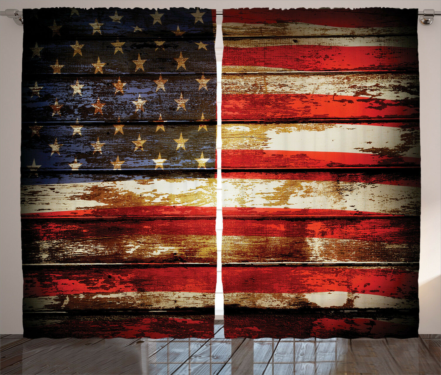 American Flag Flag Flag Curtains Vintage Wooden Window Drapes 2 Panel Set 108x84 Inches e48be0