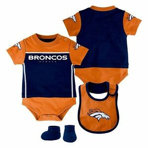 pretty nice 55160 c667d Details about Denver Broncos 3 Piece Bodysuit, Bib, and Booties NFL baby  infant