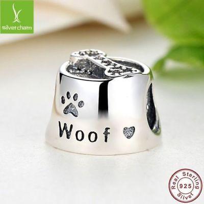 925 Silver Sterling Dog Paw Woof Pet animal heart bowl 4 European Charm bracelet