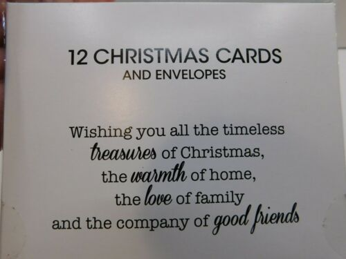 """NEW 12 Ct Christmas Tree CHRISTMAS CARDS w//Envelopes Foil 5/"""" x 7/"""""""