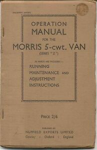 Morris 5 cwt van original Operation Manual (Handbook) Series Z 1948 Ed. Export