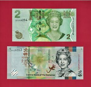 UNC-NOTES-1-2-Half-Dollar-2019-Bahamas-P-New-amp-2-Two-Dollars-FIJI-2011-P-109