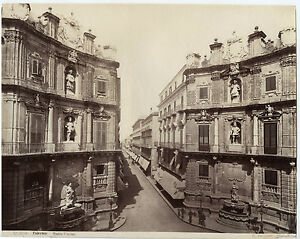 Italia Palermo Quatro Cantoni Sommer Vintage Albumina Ca 1875